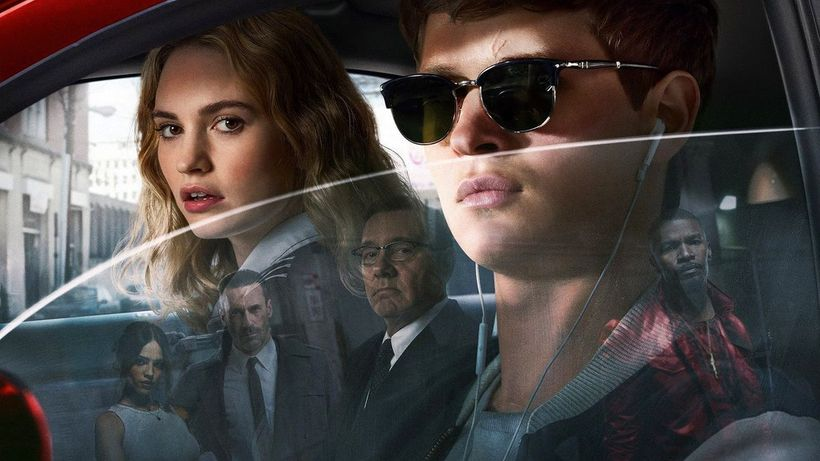 The cast of Edgar Wright's Baby Driver: Lily James, Ansel Elgort, Jamie Foxx, Kevin Spacey, Jon Hamm, and Eiza González