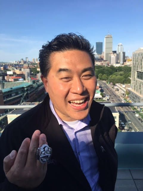 Ray Wang (Twitter: @rwang0) with the Patriots 2016-17 Super Bowl Ring (City of Boston background)