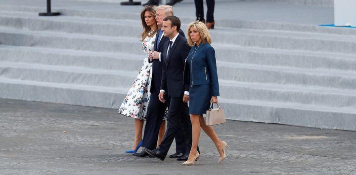 French President Emmanuel Macron, his wife Brigitte Macron, U.S. President Donald Trump and First Lady Melania Trump on the