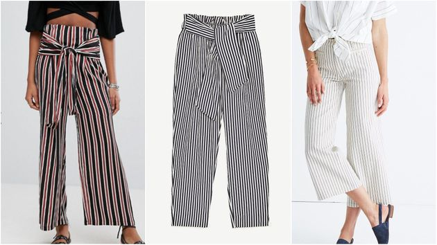 L to R:  Asos New Look stripe tie-front pants, $40; Zara trousers with belt, $35.90; Madewell striped...