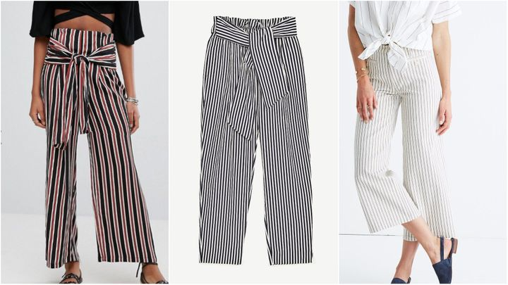 "L to R:  Asos <a href=""http://us.asos.com/new-look/new-look-stripe-tie-front-pants/prd/8028124/?clr=bluepattern&SearchQuery=striped+blue+pants&pgesize=13&pge=0&totalstyles=13&gridsize=3&gridrow=2&gridcolumn=2"" target=""_blank"">New Look stripe tie-front pants</a>, $40; Zara <a href=""https://www.zara.com/us/en/collection-aw-17/woman/trousers/trousers-with-belt-c269187p4908569.html"" target=""_blank"">trousers with belt</a>, $35.90; Madewell <a href=""https://www.madewell.com/newarrivals/denim/PRD~G6567/G6567.jsp?Nbrd=M&Nloc=en_US&Nrpp=48&Npge=1&Ntrm=striped+pants&isSaleItem=false&color_name=LAYLA%20STRIPE&isFromSearch=true&isNewSearch=true&hash=row0"" target=""_blank"">striped wide-leg crop pants</a>, $128"