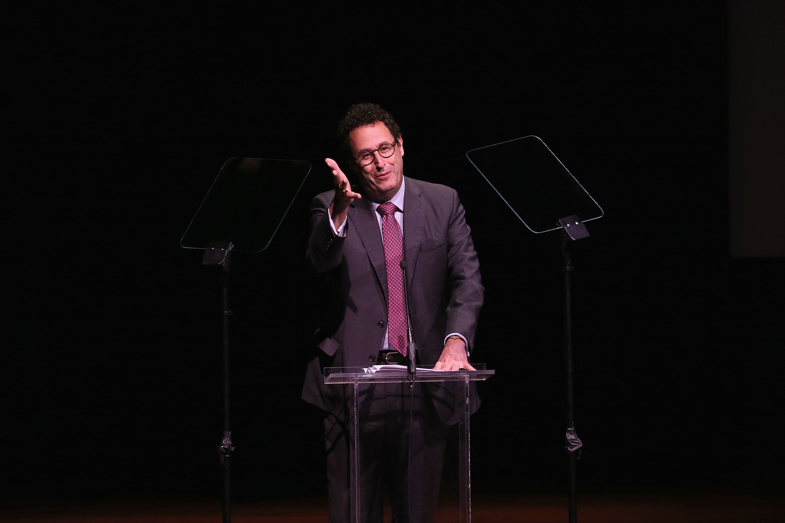NEW YORK, NY - MAY 10:  Tony Kushner speaks onstage at the 30th Annual Lucille Lortel Awards at NYU Skirball Center on May 10, 2015 in New York City.  (Photo by Jemal Countess/Getty Images for The Lucille Lortel Awards)