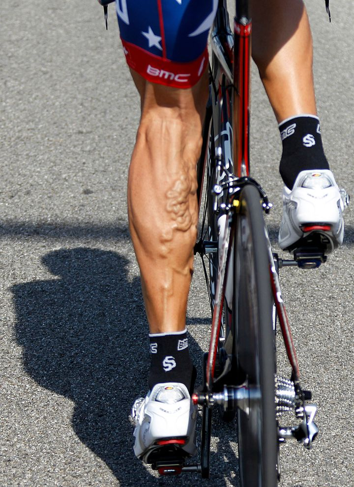 American cyclist George Hincapie is seen during a training session for the Tour de France in 2010.