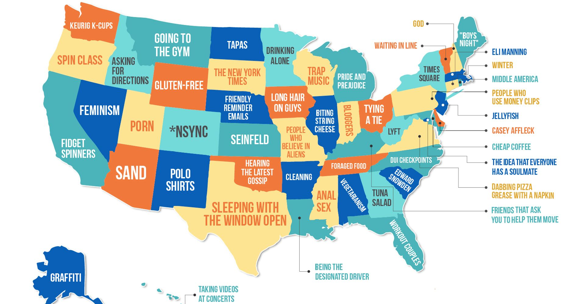 This Map Shows What People Hate The Most In Each State HuffPost - Us states make data map