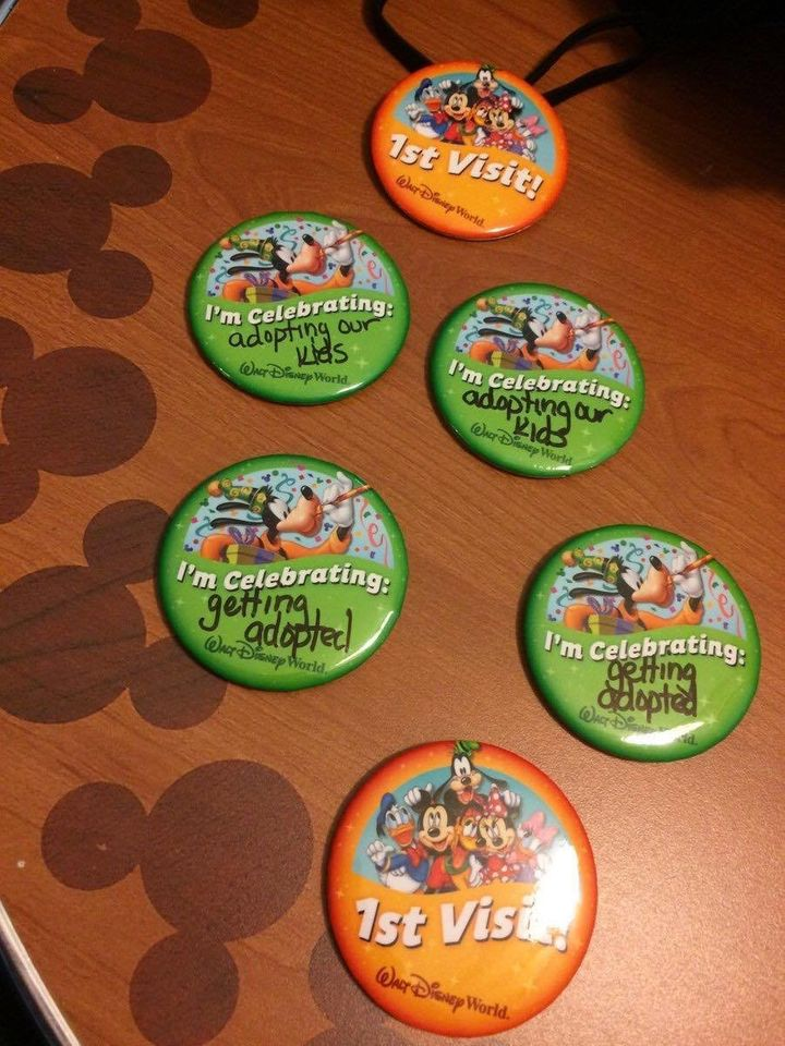 Here are the celebration buttons Courtney posted that caught the eye of Disney.