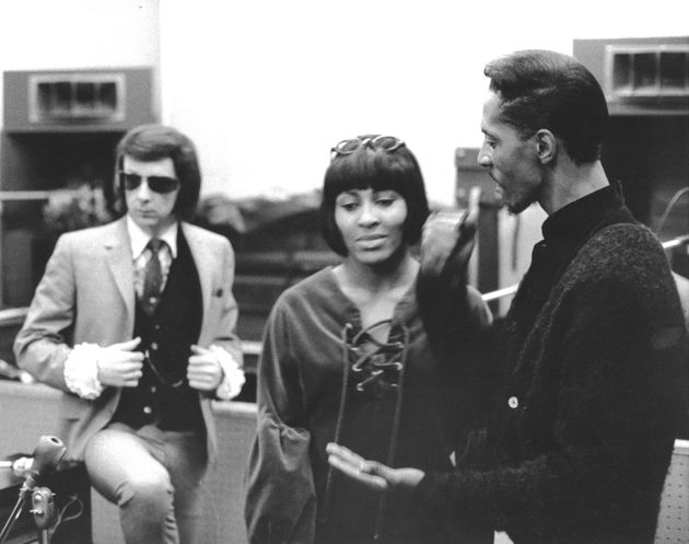 Spector stands behind Ike and Tina Turner at Gold Star Studios in Los Angeles in