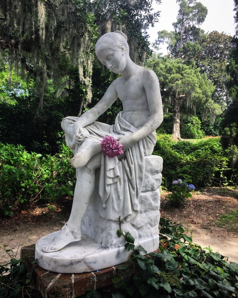 This statue at Middleton Place was buried during the Civil War by slaves to protect it.  They couldn't stop Union troops from