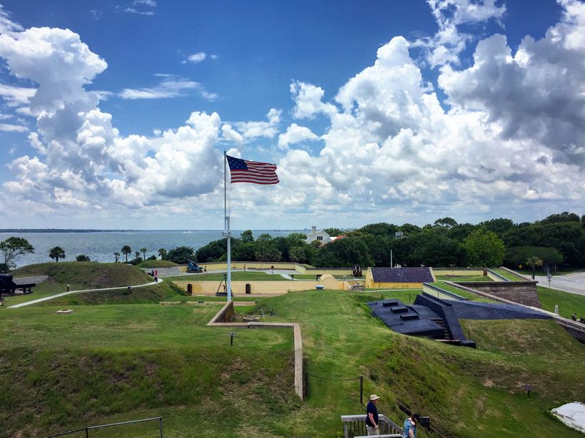 Fort Moultrie was rebuilt, but it was near here that the battle took place in 1776.