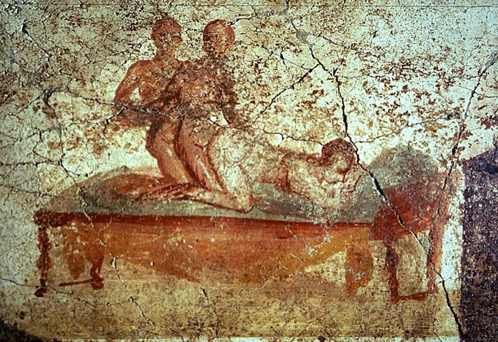 A restored erotica fresco is seen in the newly restored public bath in the ancient Roman city of Pompeii November 14, 2001.