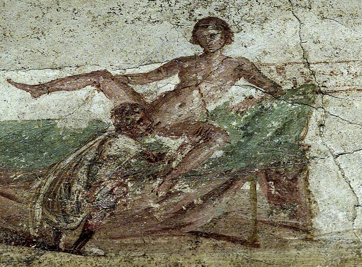 A restored erotica fresco is seen in the newly restored public bath in the ancient Roman city of Pompeii November 14, 2001.&n