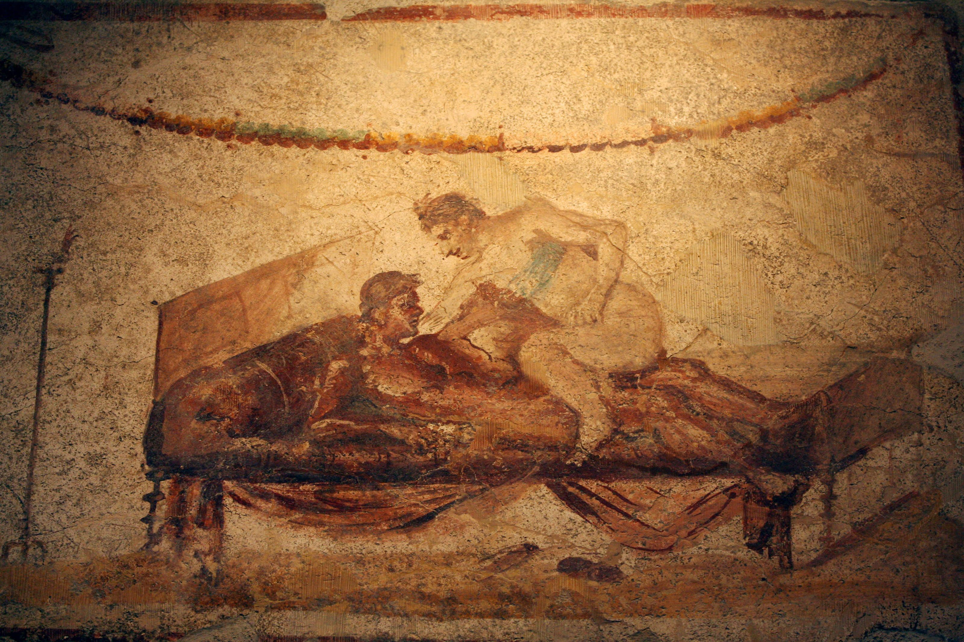 Picture taken 26 October 2006 of an erotic fresco in Pompeii. Art officials have restored an ancient...