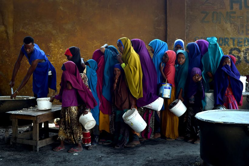 Young girls line up at a feeding center in Mogadishu.