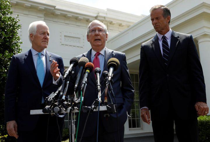 Senate Majority Leader Mitch McConnnell and Senate Majority Whip John Cornyn and South Dakota Senator John Thune speak to rep