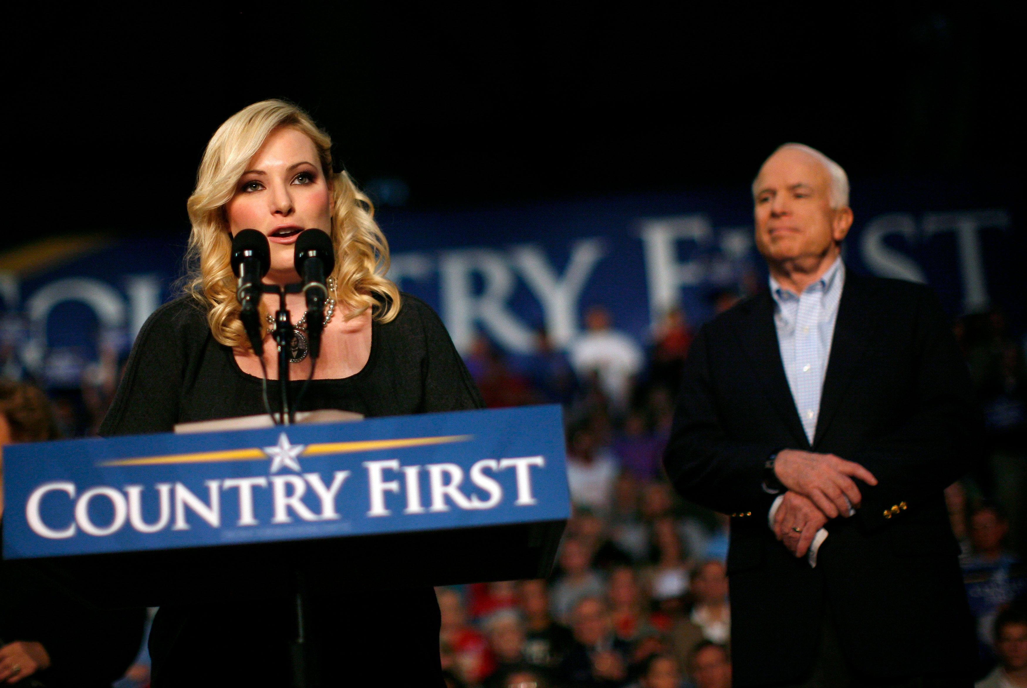 Meghan McCain introduces her father, then-Republican presidential nominee John McCain, during an Ohio rally in 2008.