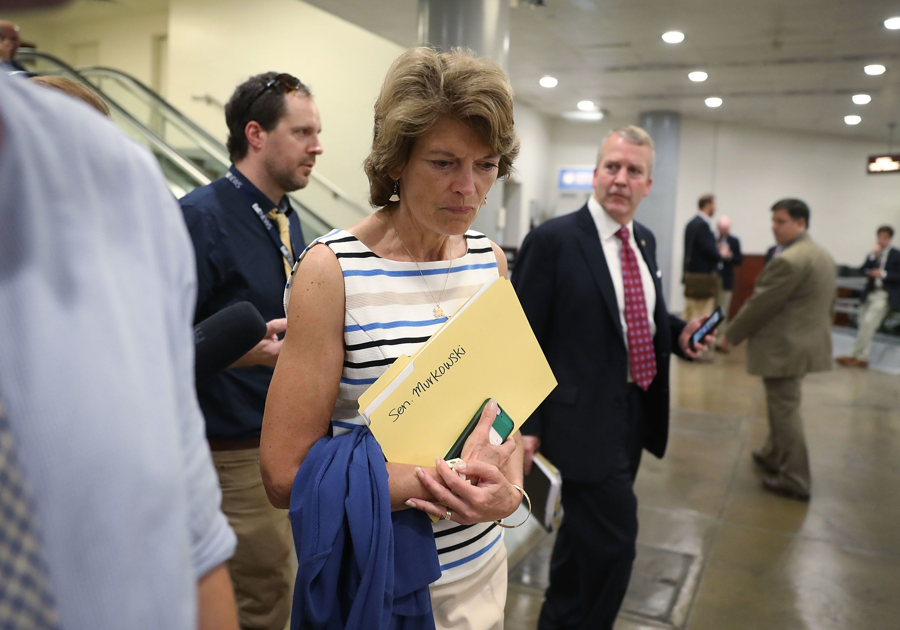 WASHINGTON, DC - JULY 19: Sen. Lisa Murkowski (AK) arrives for an all-senators closed briefing on ISIL in the U.S. Capitol on July 19, 2017 in Washington, DC. The Senators were receiving an update on the fight against the terror group.  (Photo by Joe Raedle/Getty Images)