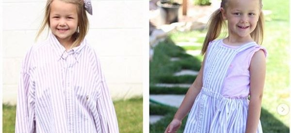 Mum-Of-Four Transforms Husband's Shirts Into Beautiful Dresses For Her Daughters