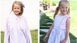 Mum-Of-Four Transforms Husband's Shirts Into Beautiful Dresses For Her