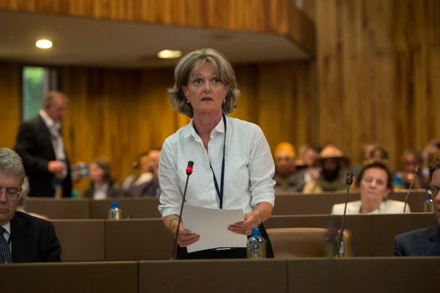 Newly elected council leader Elizabeth Campbell speaks at a meeting of Kensington and Chelsea Council...