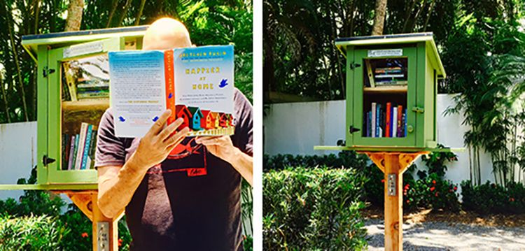 That's my head popping out of a book at a local free library box.