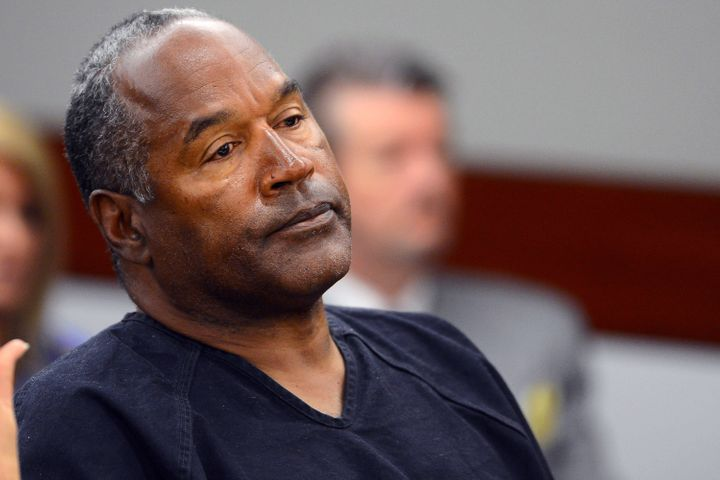 O.J. Simpson watches his former defense attorney testify during an evidentiary hearing in Clark County District Court on May
