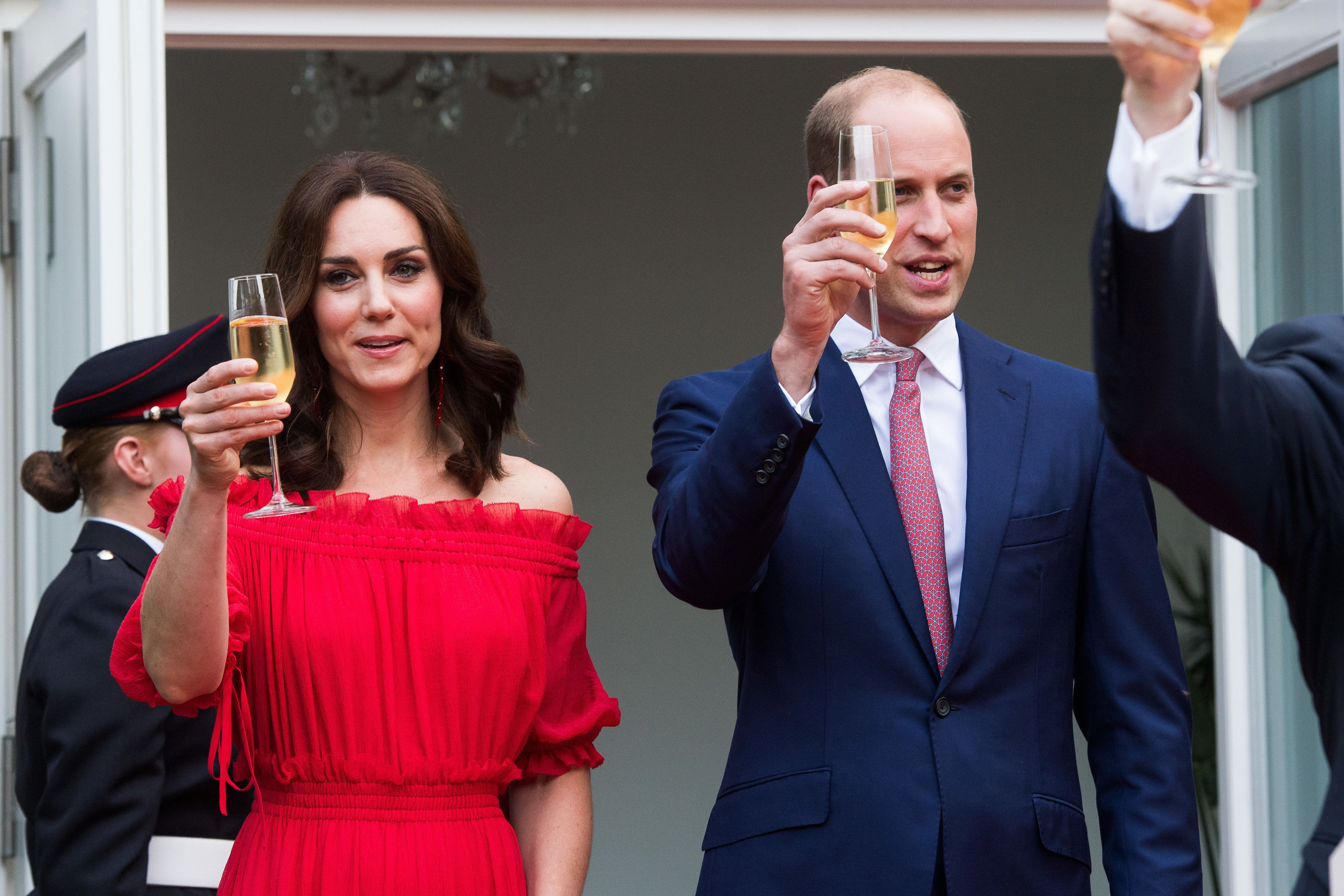BERLIN, GERMANY - JULY 19:  Prince William, Duke of Cambridge and Catherine, Duchess of Cambridge attend The Queen's Birthday Party at the British Ambassadorial Residence on the first day of their visit to Germany on July 19, 2017 in Berlin, Germany. The royal couple are on a three-day trip to Germany that includes visits to Berlin, Hamburg and Heidelberg.  (Photo by Matthias Nareyek - Pool/Getty Images)