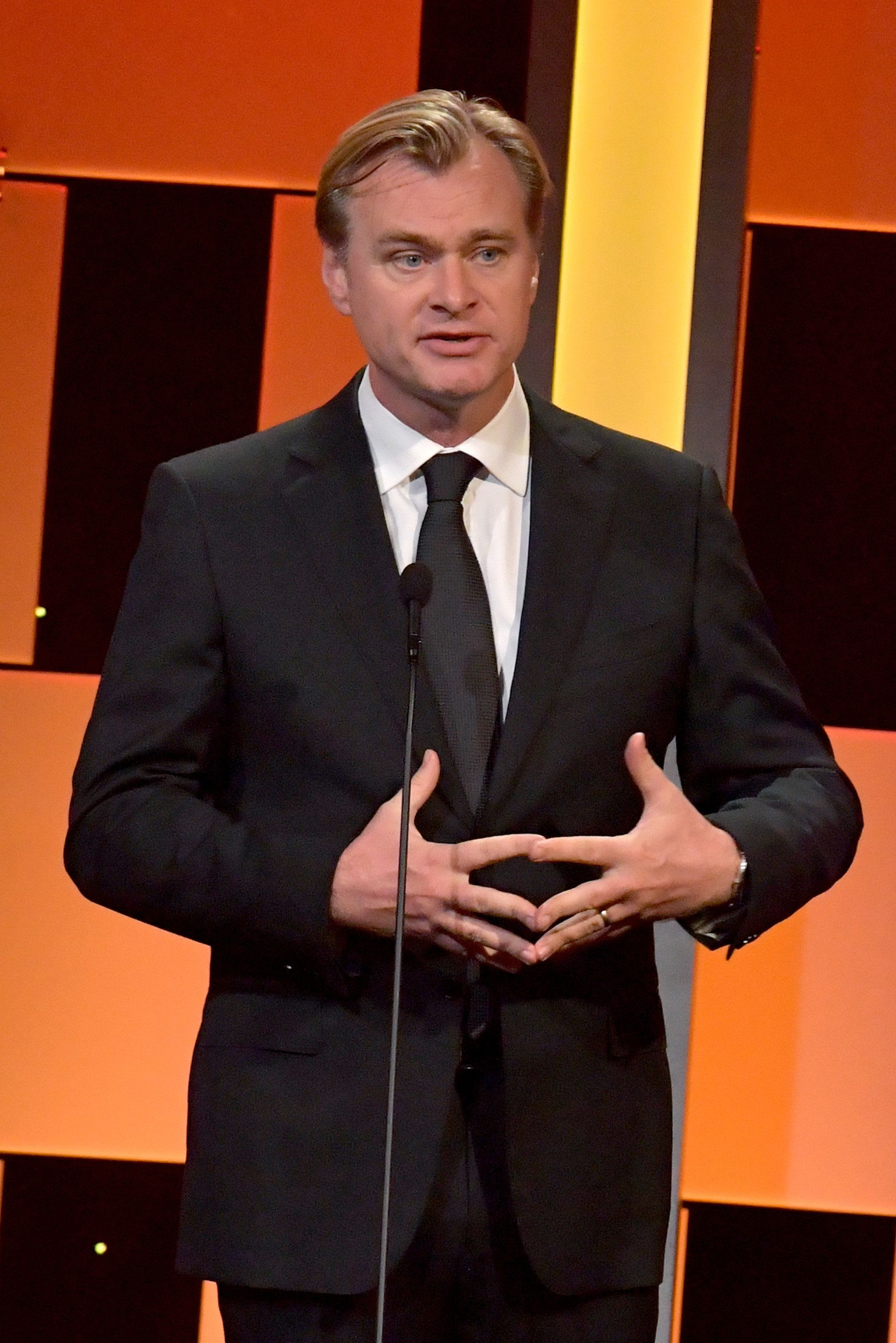 BEVERLY HILLS, CA - OCTOBER 14:  Director Christopher Nolan speaks onstage at the 30th Annual American Cinematheque Awards Gala at The Beverly Hilton Hotel on October 14, 2016 in Beverly Hills, California.  (Photo by Lester Cohen/WireImage)