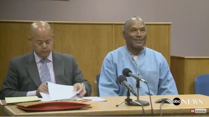 O.J. Simpson speaks with the Nevada Board of Parole Commissioners on Thursday.
