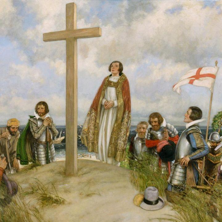 The Cape Henry Landing by English artist Stephen Reid