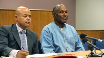 LOVELOCK, NV - JULY 20: O.J. Simpson (R) attends his parole hearing at Lovelock Correctional Center July 20, 2017 in Lovelock, Nevada. Simpson is serving a nine to 33 year prison term for a 2007 armed robbery and kidnapping conviction. (Photo by Jason Bean-Pool/Getty Images)