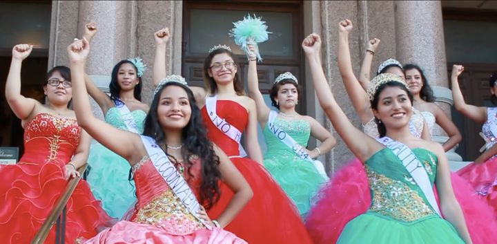 """A group of girls staging a rally outside of the Texas capitol called """"Quinceañera at the Capitol."""""""