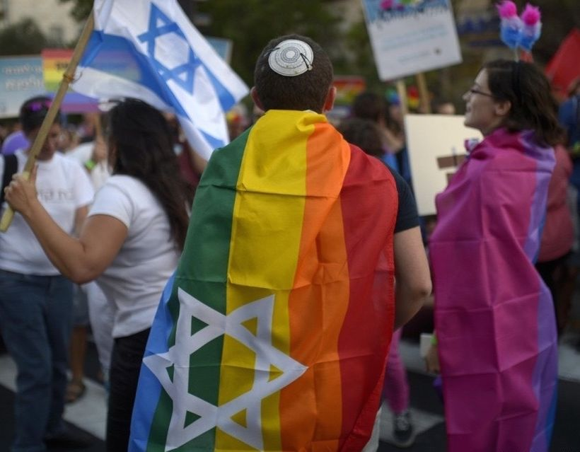 Participants in Jerusalem's annual Pride parade, date unknown.
