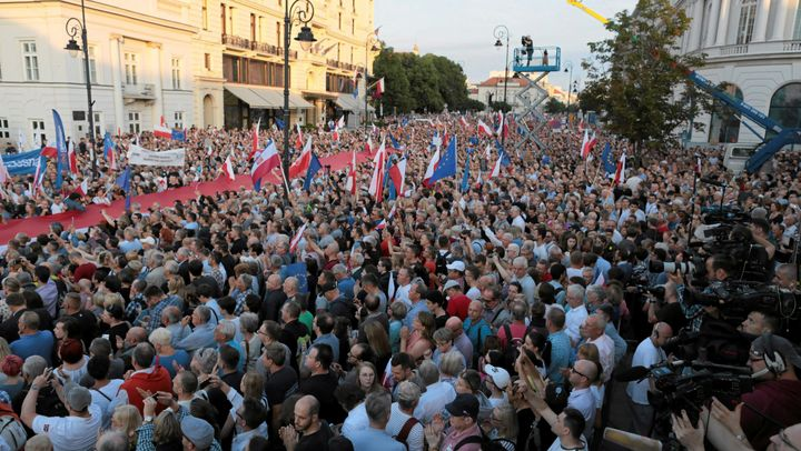 People protest against the proposed judicial legislation in Warsaw on July 20.
