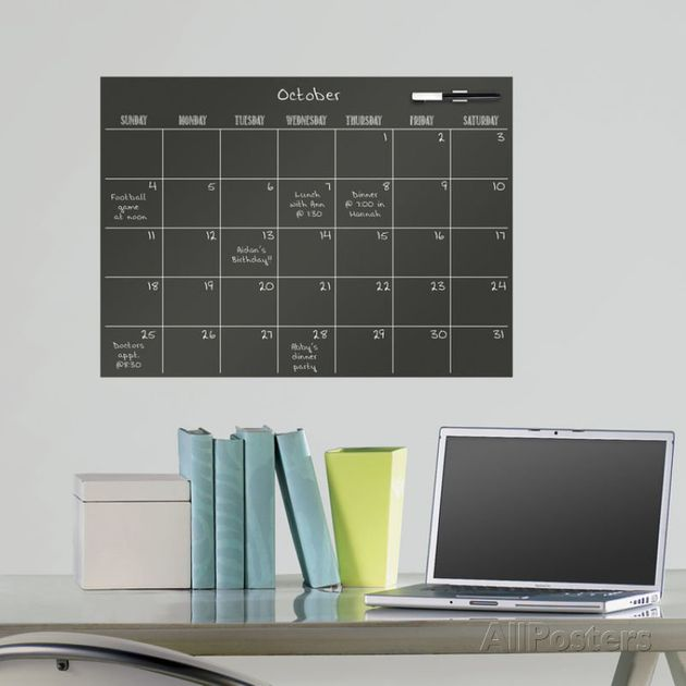 Black Dry Erase Calendar Wall Decal Sticker