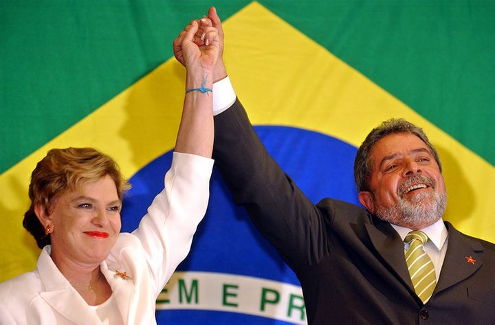 Lula celebrates with his wife after finally winning the presidency in 2002.