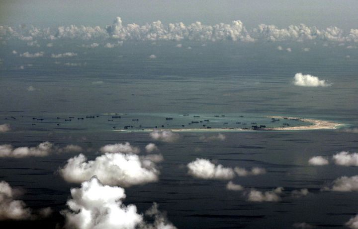 Land reclamation by China on Mischief Reef, in the South China Sea.