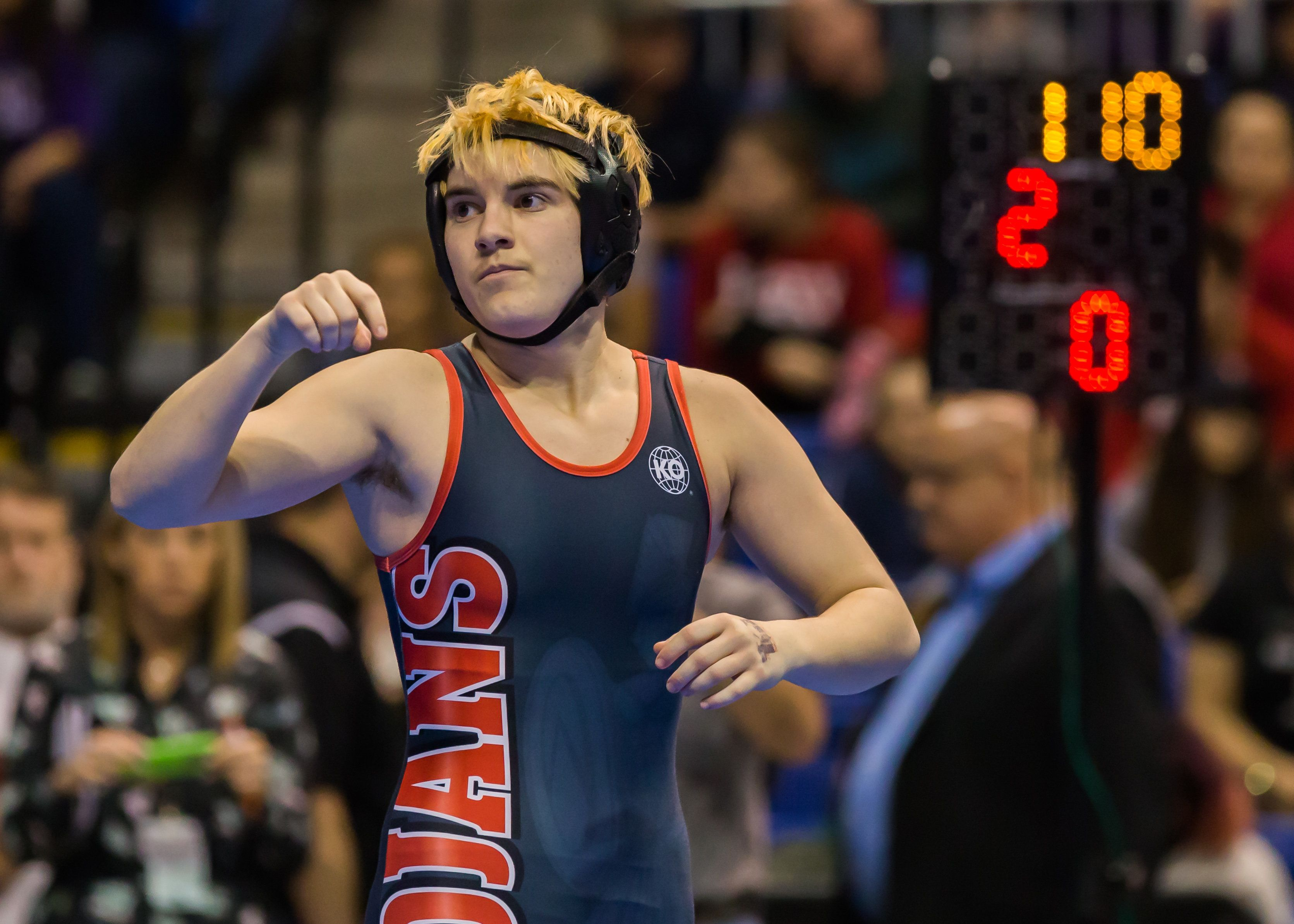 CYPRESS, TX - FEBRUARY 25:  Trinity junior Mack Beggs waits for a signal from the referee in the final round of the 6A Girls 110 Weight Class match during the Texas Wrestling State Tournament on February 25, 2017 at Berry Center in Cypress, Texas.  (Photo by Leslie Plaza Johnson/Icon Sportswire via Getty Images)