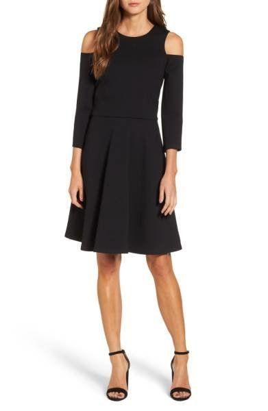 """<a href=""""http://shop.nordstrom.com/s/eliza-j-cold-shoulder-fit-flare-dress-regular-petite/4610308?origin=category-personalize"""