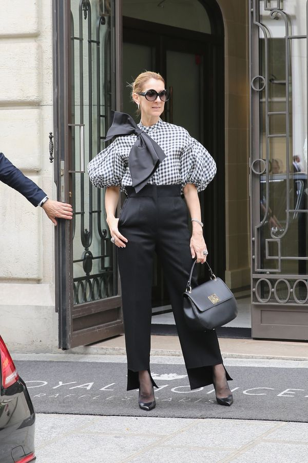 Wearing a Dice Kayek top, Celine pants, Tom Ford shoes and a bag from Celine Dion collection on July 6 in Paris.