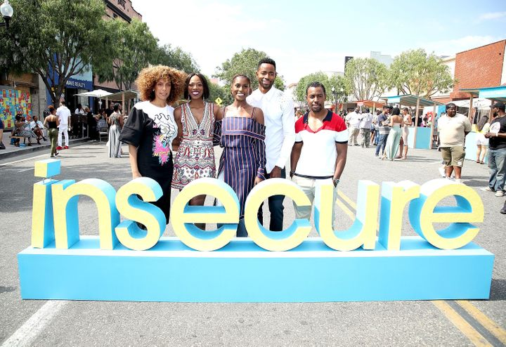Director Melina Matsoukas, Yvonne Orji, executive producer and star Issa Rae, Jay Ellis and Executive producer Prentice Penny
