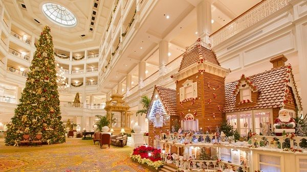 The Grand Floridian Lobby during the holidays