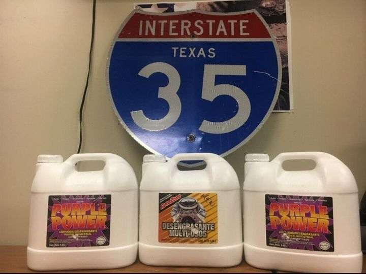 Authorities said these jugs held 75 pounds of liquid meth.