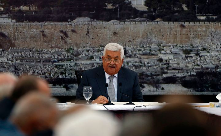 Palestinian president Mahmoud Abbas gives a speech during a meeting of Palestinian leadership in the West Bank city of Ramall