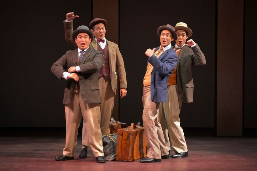 Phil Wong (Frank), James Seol (Henry), Hansel Tan (Charlie), and Sean Fenton (Fred) in a scene from <strong><em>The Four Immi