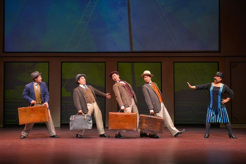 Hansel Tan, Phil Wong, James Seol, Sean Fenton and Kerry Keiko Carnahan in a scene from <strong><em>The Four Immigrants</em><