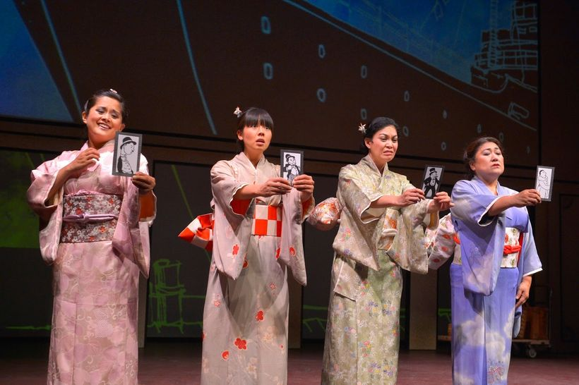 Catherine Gloria, Lindsay Hirata, Rinabeth Apostol, and Kerry Keiko Carnahan appear as four mail-order brides in a scene from