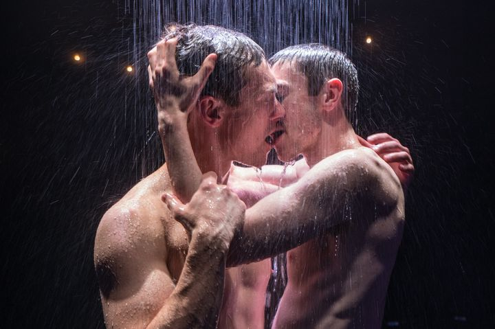 "Brandon Haagenson (left) and Patrick Reilly star in S. Asher Gelman's steamy new play, ""Afterglow,"" now playing in New Y"