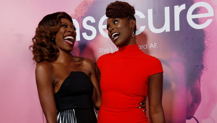 """Yvonne Orji, left, poses with """"Insecure"""" creator and cast member Issa Rae."""