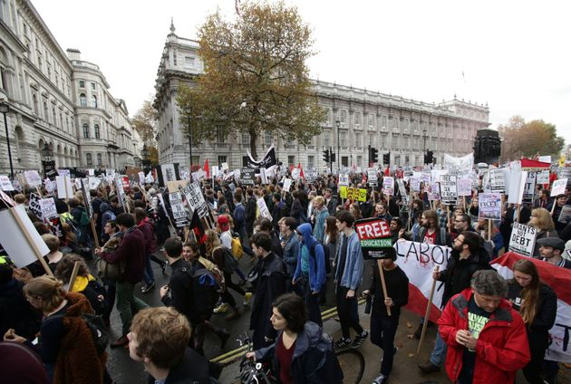 Students during a protest calling for the abolition of tuition fees and an end to student debt outside...