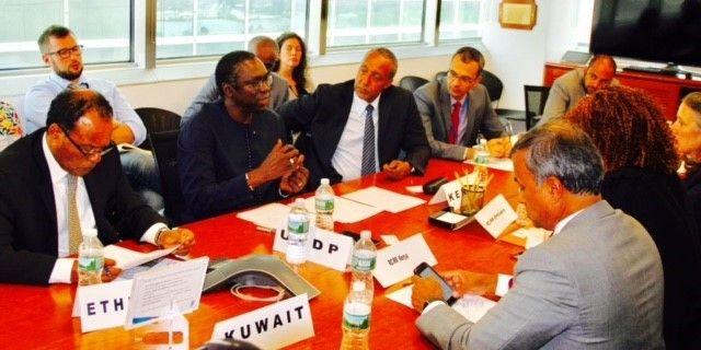 <em>Mr Abdoulaye Mar Dieye flanked by the Permanent Representative of Kenya Ambassador Macharia Kamau and the Permanent Repre