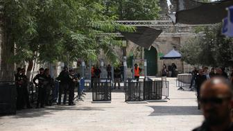 JERUSALEM - JULY 23 : Metal detectors and surveillance camera are seen at outside Lions' Gate, a main entrance to Al-Aqsa mosque in Jerusalem on July 23, 2017. Israeli Government restricted entrance of under 50-year-old Palestinians to the the Al-Aqsa Mosque compound and assembled metal detector gates. (Photo by Mostafa Alkharouf/Anadolu Agency/Getty Images)